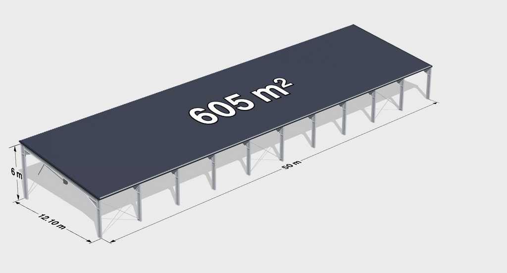 Строительство большого навеса с односкатной крышей 605м2