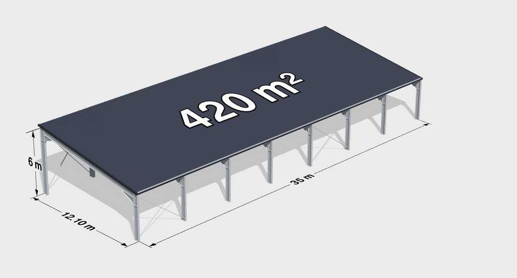 Навес с односкатной крышей 420м2 фото