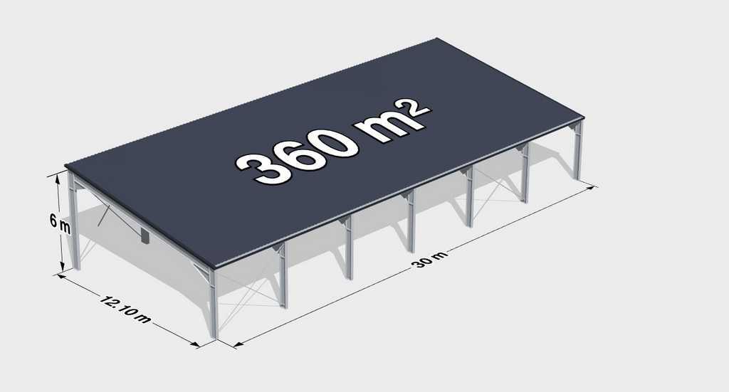 Навес из металлопрофиля односкатный 360м2
