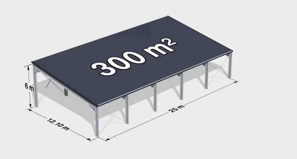 Навес односкатный металлический 300м2 фото
